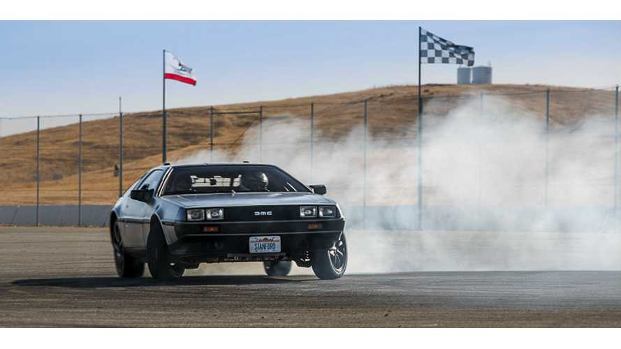 Self-Drifting Electric DeLorean Does Donuts On The Track - Video
