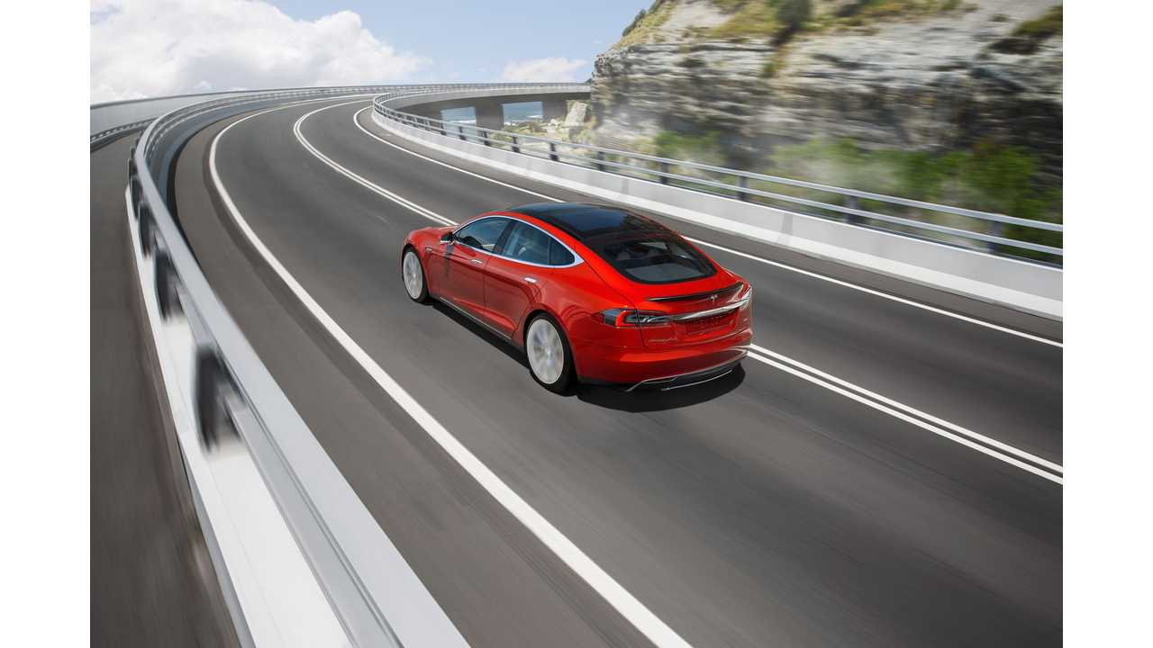 Tesla Model S heading out for a long distance drive in Australia