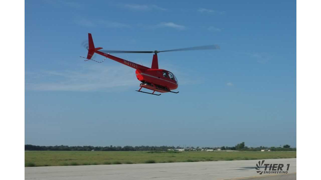 Tier 1 Engineering:  First flight of R44 under electric propulsion at Los Alamitos Army Airfield.