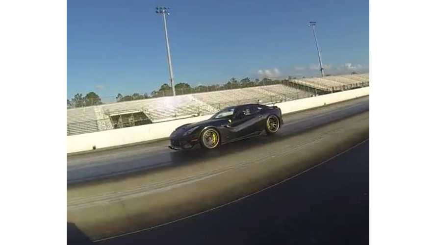 Tesla Model S P85D Versus Ferrari F12 - Drag Race Video