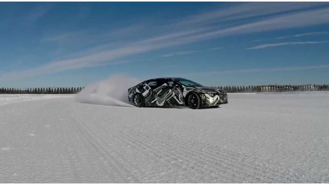 Lucid Air Conducts Winter Testing - Tail-Out Action Video