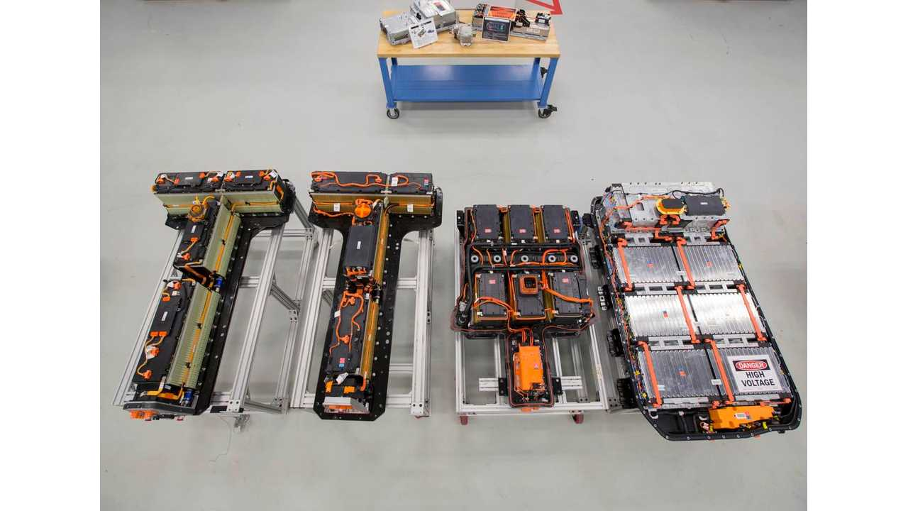A Chevrolet Bolt EV battery pack, far right, is compared to battery packs from, left to right, a first generation Volt, a second generation Volt, and a Spark EV (Photo by Jeffrey Sauger for General Motors)