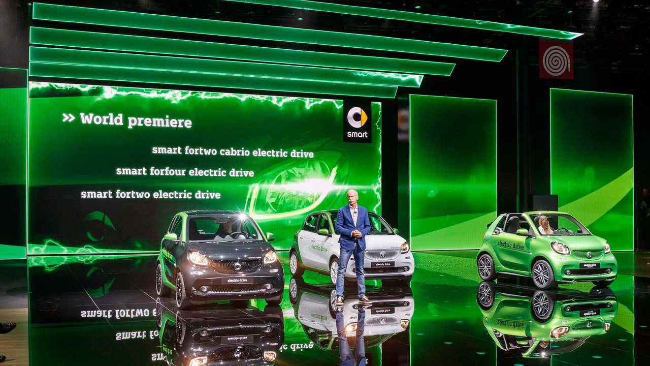 Daimler CEO, Dieter Zetsche, premiering the new Smart electric drive vehicles. Zetsche told reporters at the Paris Motor Show that by 2025, 15 to 25 percent of Mercedes' overall sales will rely on emissions-free cars.
