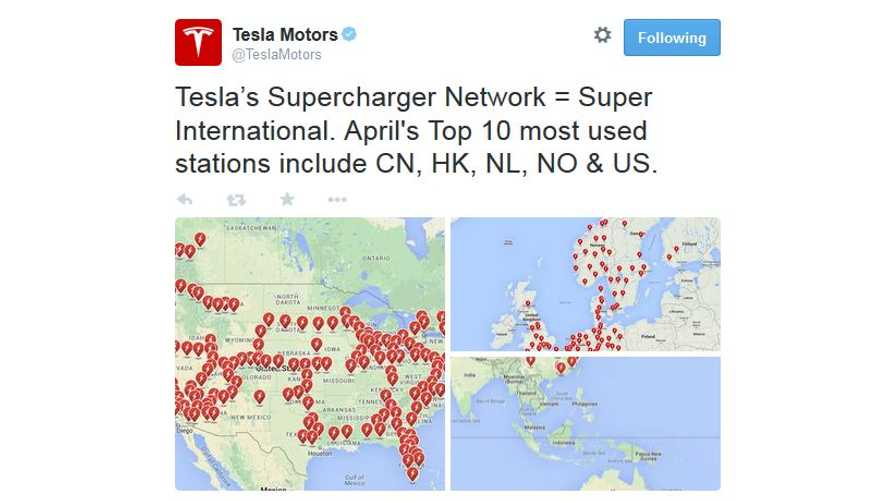 Tesla Supercharger Network - April's Top 10 Most Utilized Stations Are In U.S., China, Hong Kong, Norway & The Netherlands