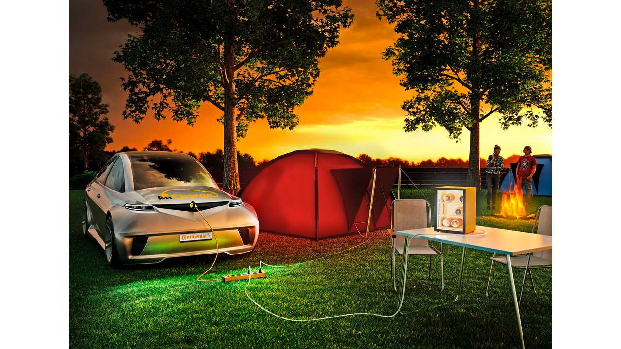 The bidirectional AllCharge system opens up whole new applications for the large amounts of energy stored in the vehicle battery, for example at the camping area.  (Continental)