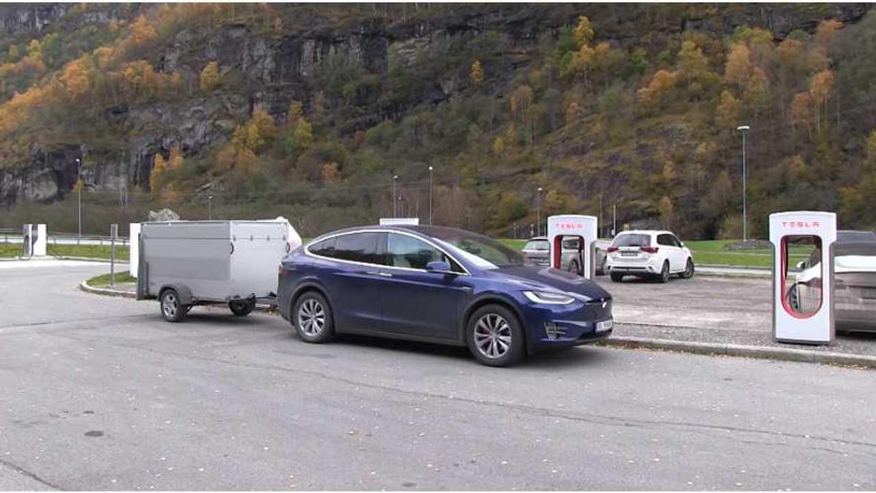 Tesla Model X with trailer