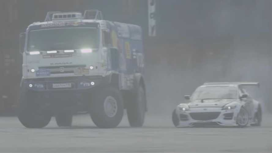 Mazda RX-8 And Kamaz Dakar Truck Form Unusual Drift Team