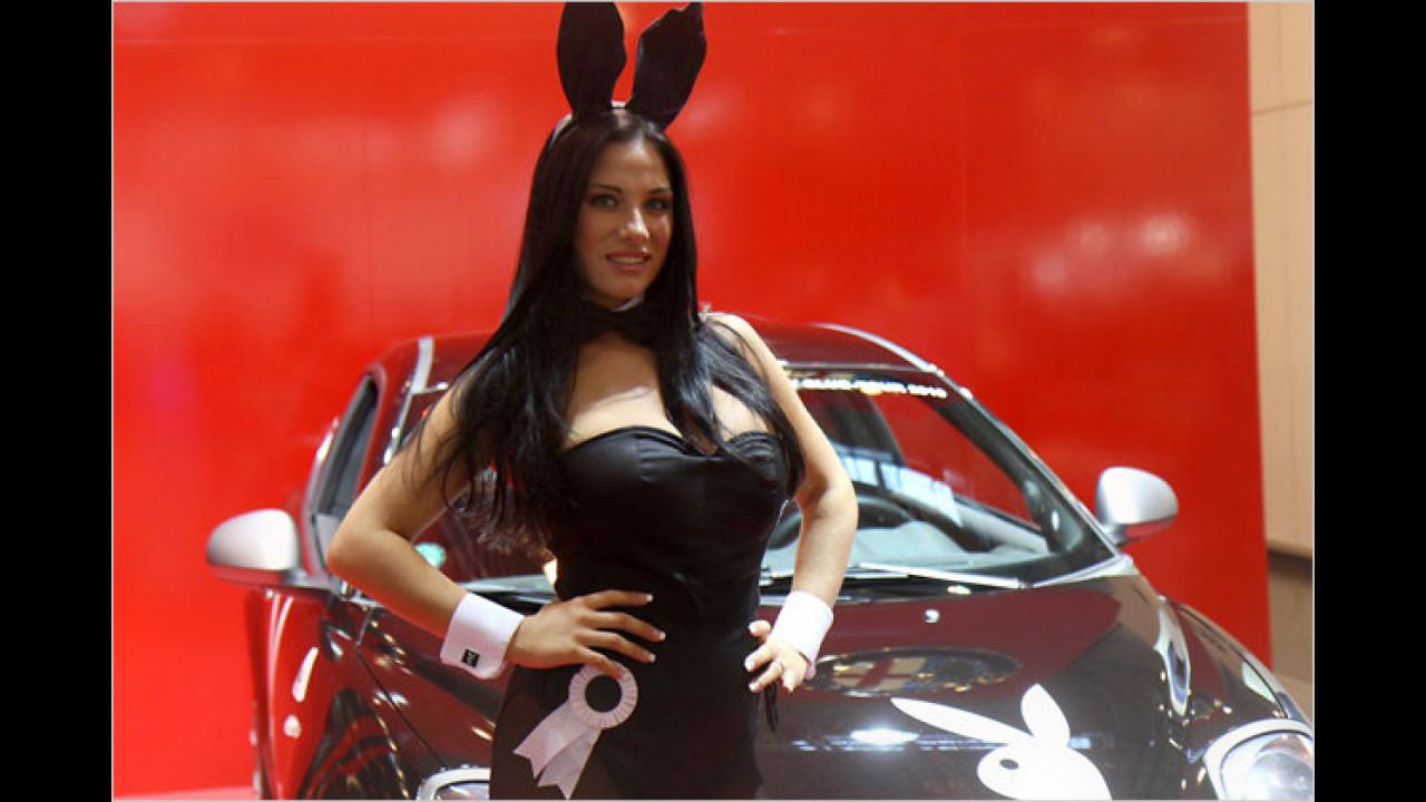 Auch dieses Playboy-Häschen will sich die Tuningmesse nicht entgehen lassen