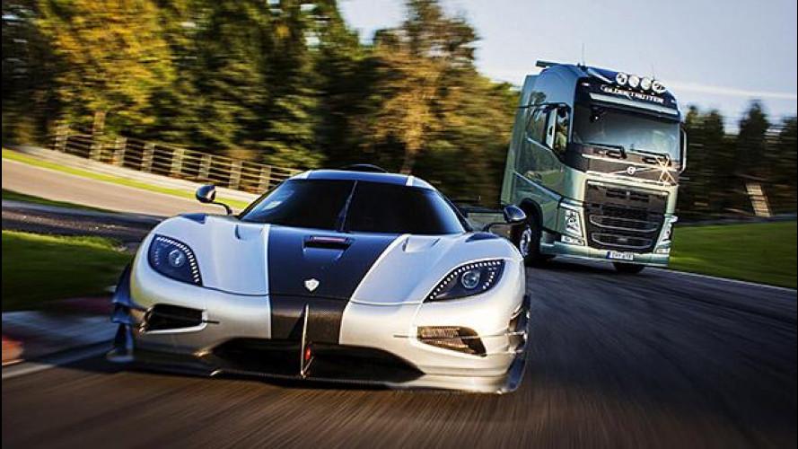 Camion vs supercar, l'incredibile sfida in pista [VIDEO]