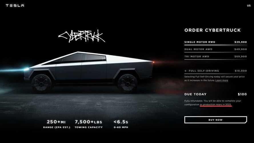 La producción del Tesla Cybertruck se retrasará hasta 2022