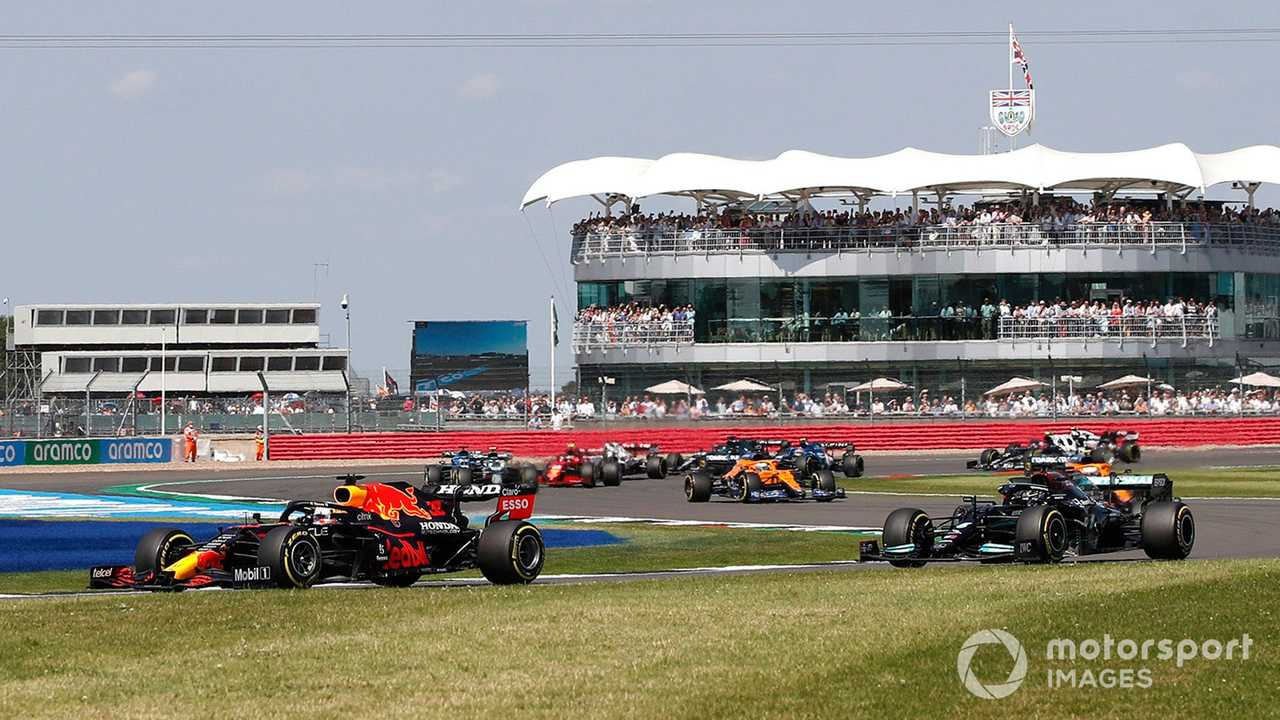 Max Verstappen leads Lewis Hamilton at British GP 2021