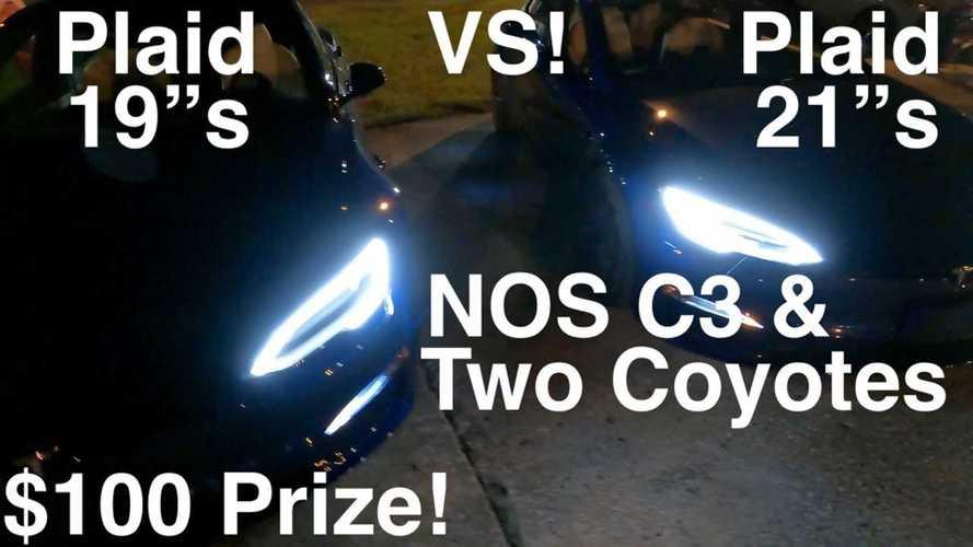 Tesla Model S Plaid with 21s vs Plaid w/19s, plus NOS Corvette C3