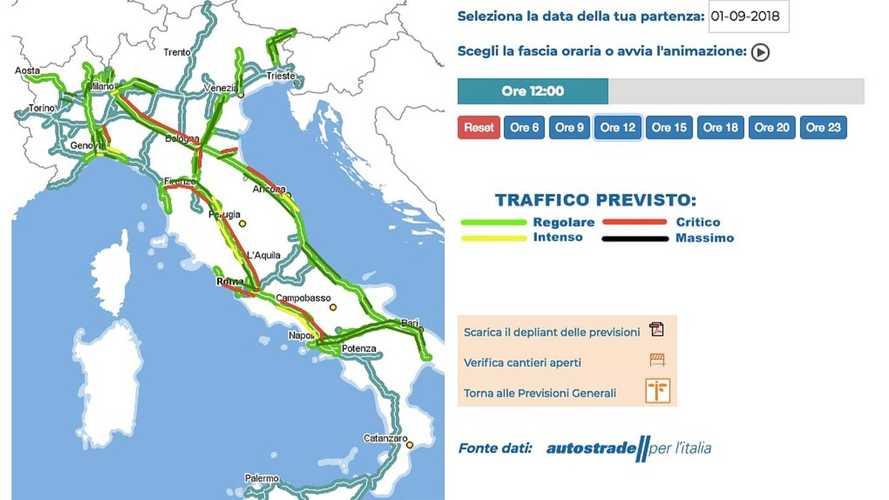 Previsioni traffico 1 e 2 settembre, bollino rosso per il rientro