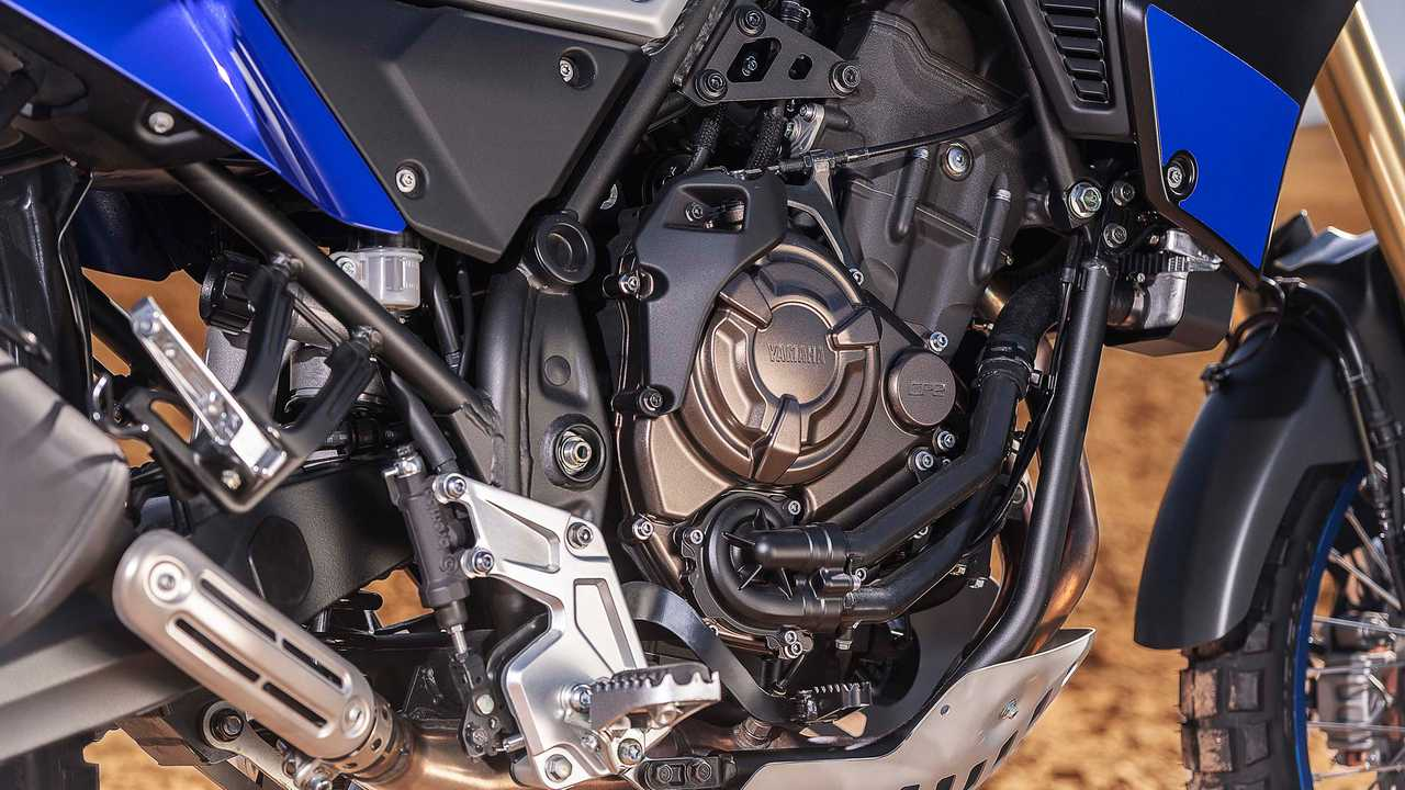 The 698cc crossplane engine has special Adventure Touring settings.
