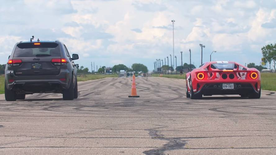 Hennessey Drag Races Its 1,000-HP Jeep Trackhawk Against Ford GT