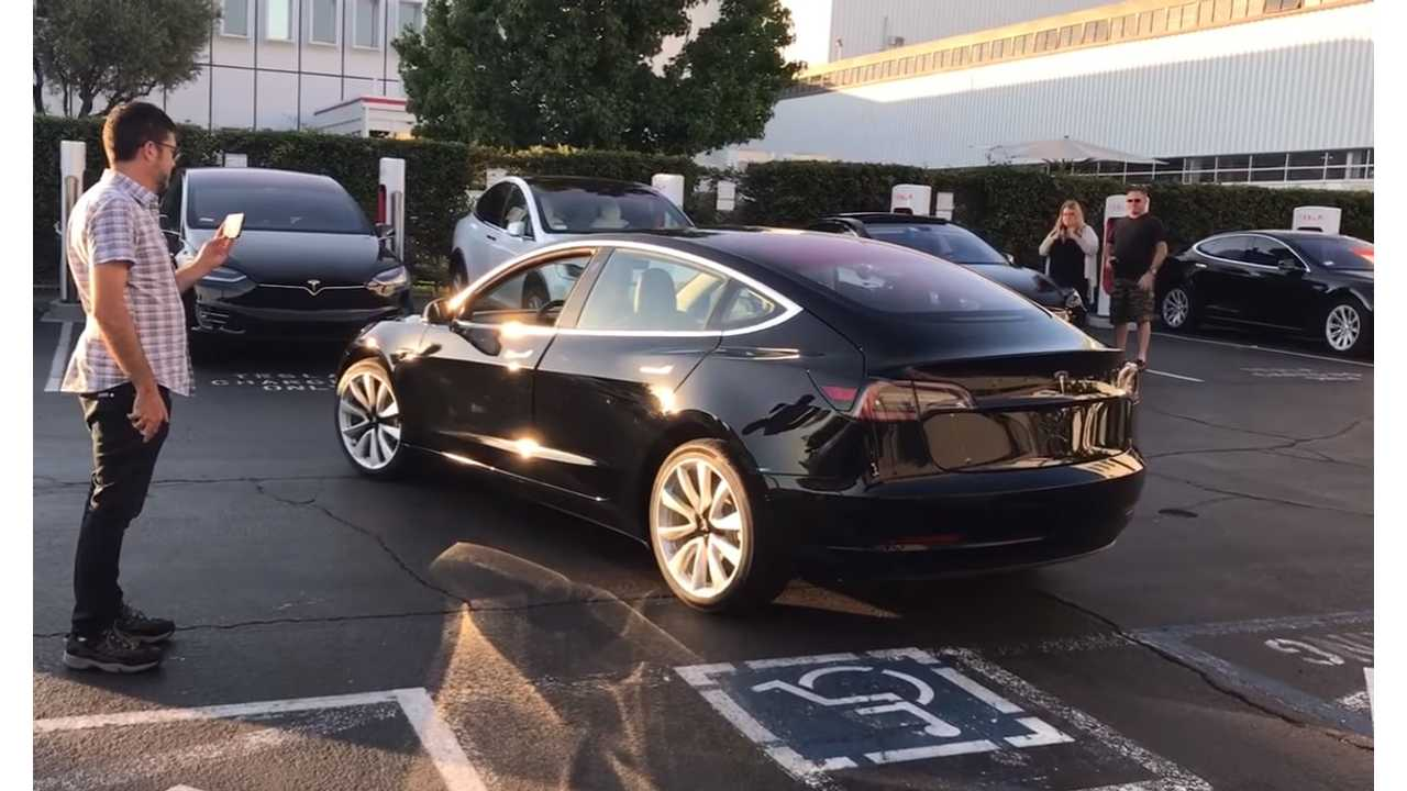 First Production Tesla Model 3 Up Close & Personal - Video