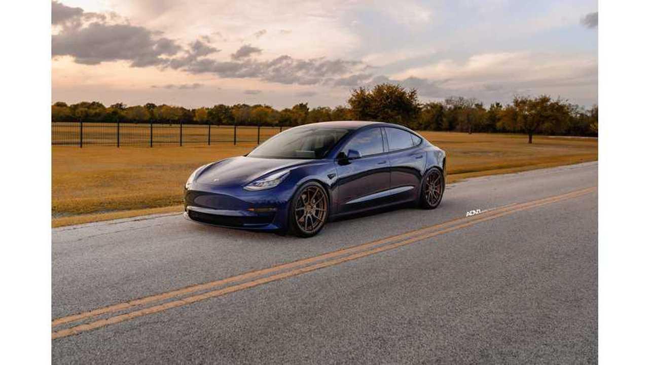 Deep Blue Metallic Tesla Model 3 Gets Aftermarket ADV.1 Wheels