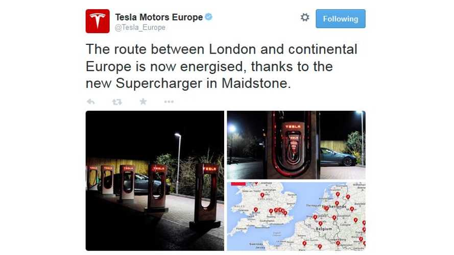 Tesla Superchargers Connect London To Continental Europe