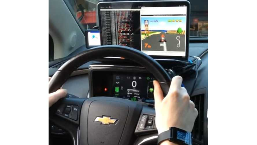 Chevrolet Volt Hacked To Allow Steering Wheel To Control Mario Kart - Video