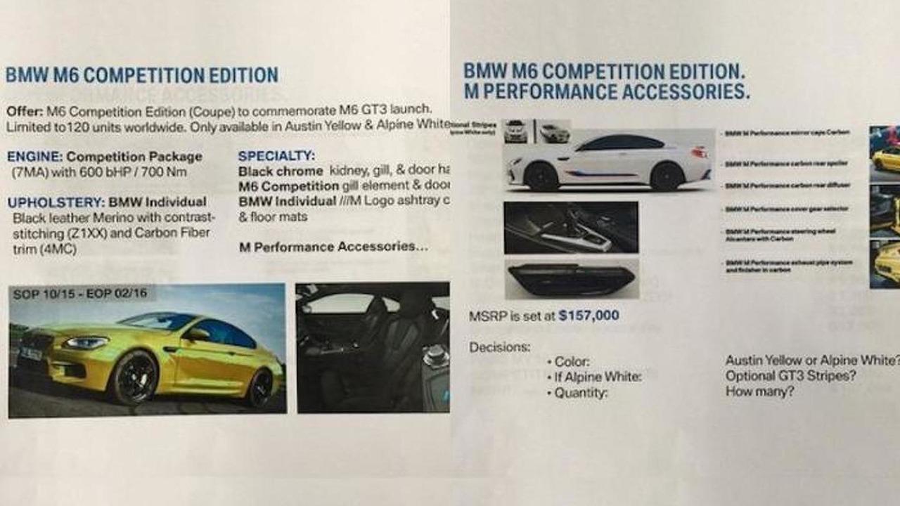 BMW M6 Competition Edition leak