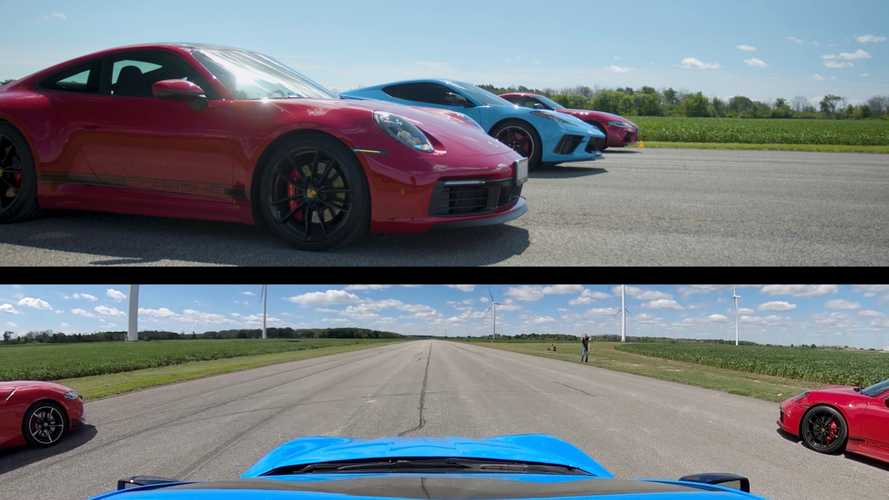 Chevy Corvette, Porsche 911, And Toyota Supra Run A Three-Way Drag Race
