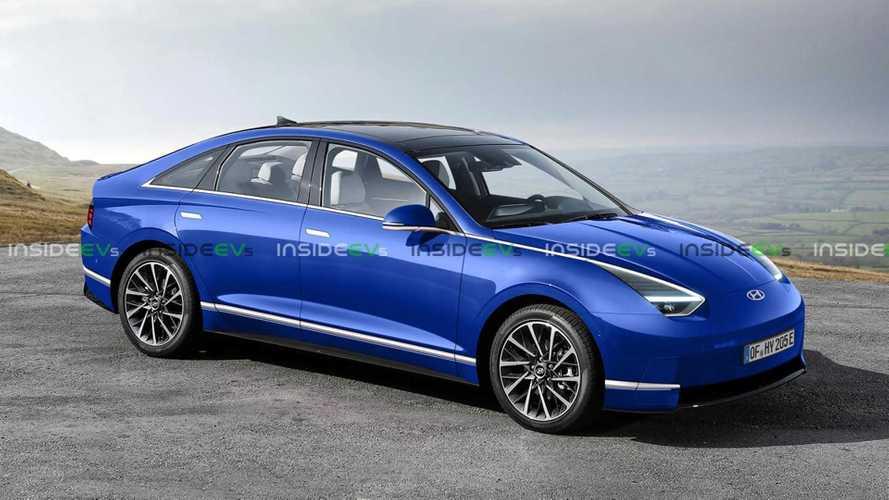 Sedã elétrico da Hyundai tem visual especulado em projeção e difere do conceito