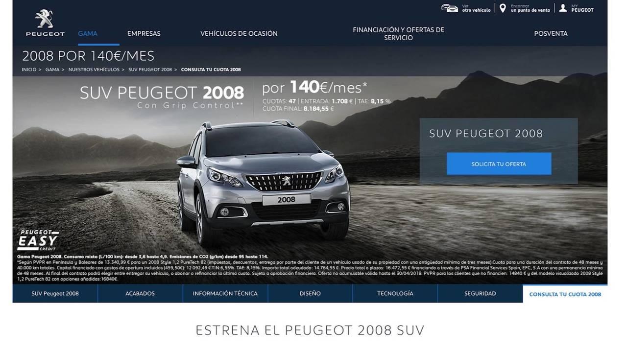 Peugeot 2008 2018, por 140 euros al mes