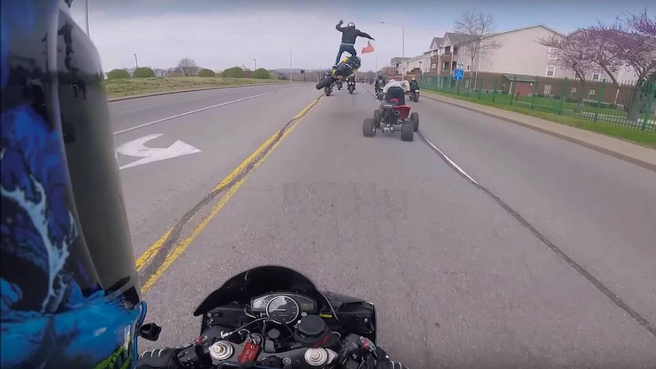 Video: Gixxer Rider Airborne Off ATV Wheel and Fender