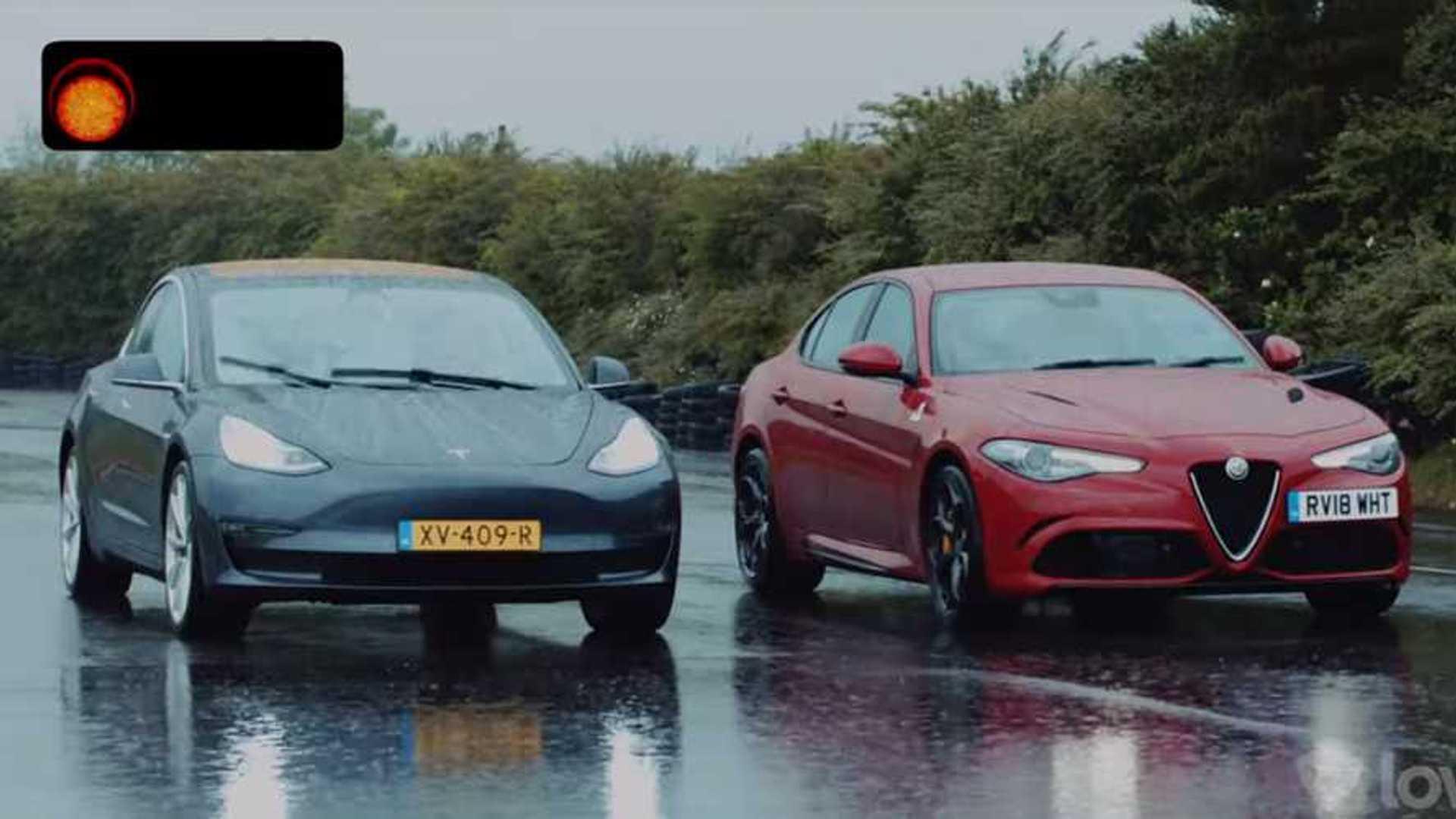 Alfa Giulia Qv >> Tesla Model 3 And Alfa Romeo Giulia Qv Meet For A Rainy Drag Race