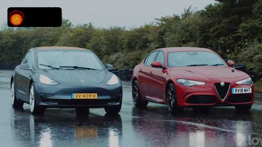 Tesla Model 3 and Alfa Romeo Giulia QV meet for a rainy drag race