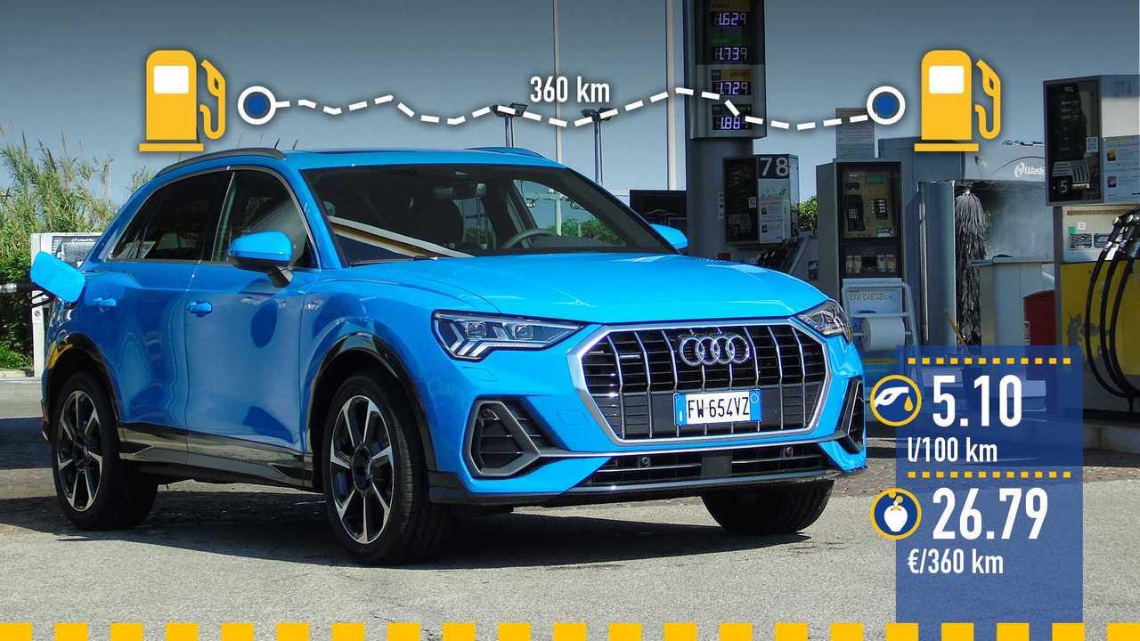 Audi Q3 diesel, la prova consumi
