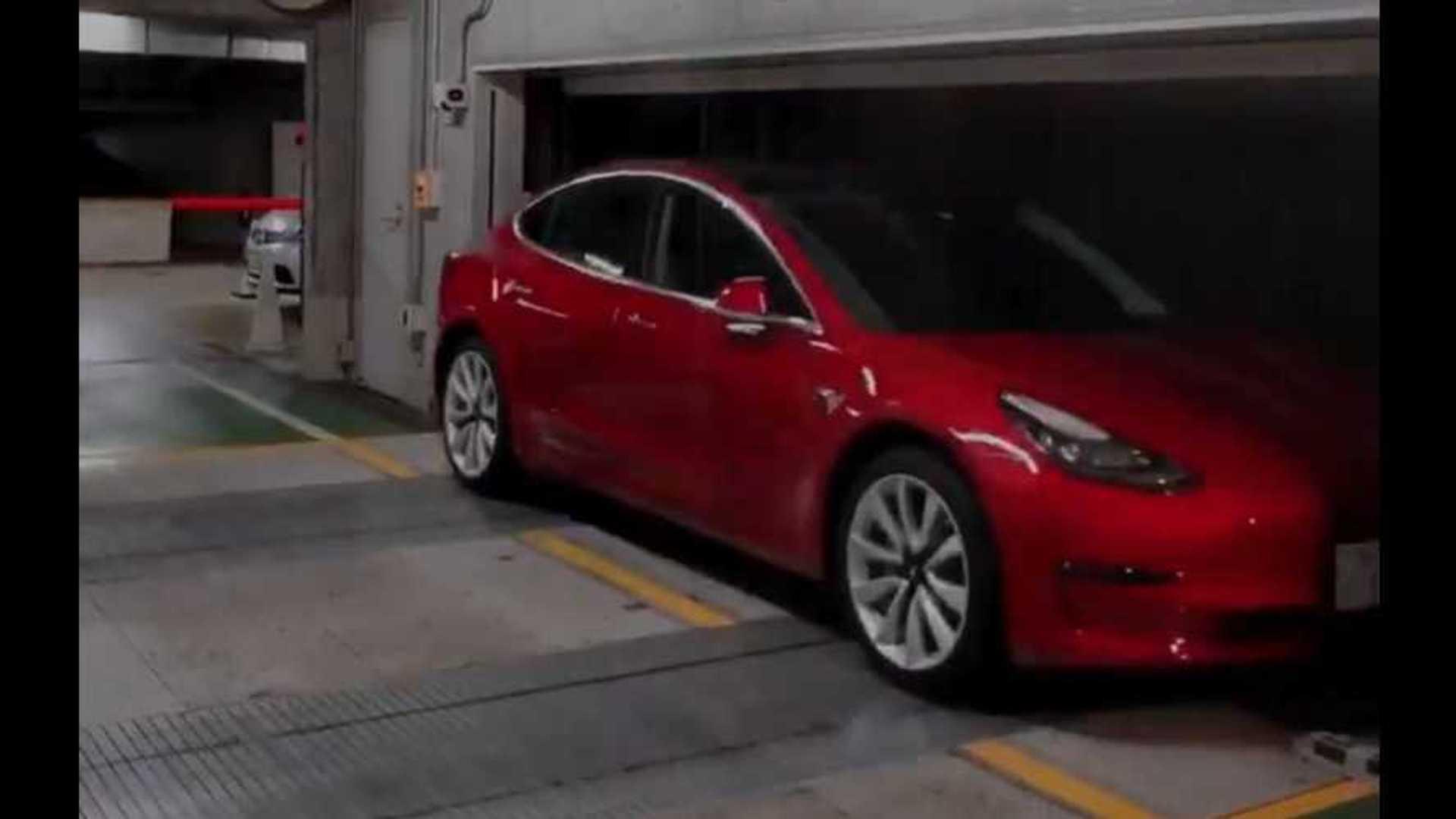 Watch Tesla Model 3 Enter Automated Conveyor Parking System