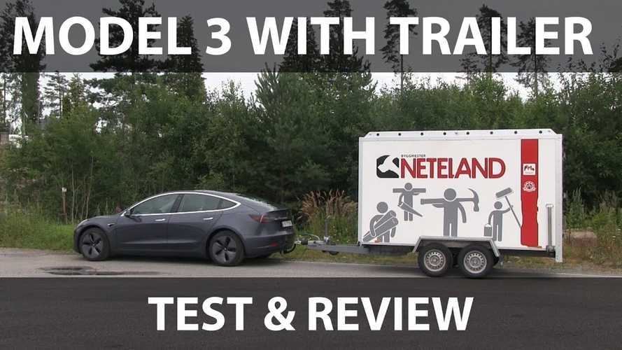 Tesla Model 3 Towing A Big Trailer: Test And Review Video