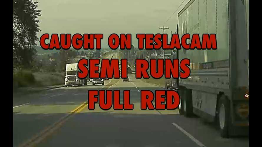 Semi Blows Through Red Light: Close Call Caught On Tesla Dashcam