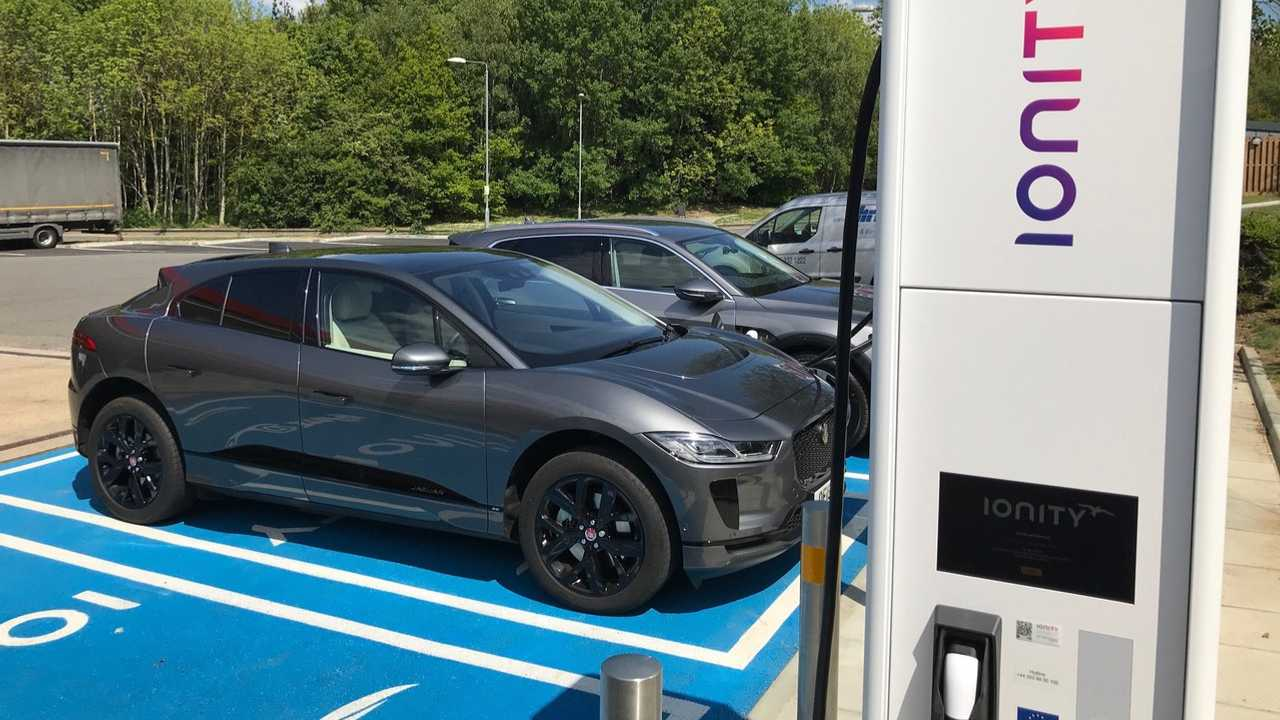 Jaguar I-PACE at IONITY fast charging station in UK