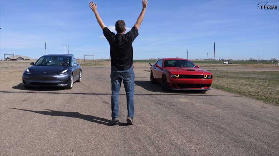 Tesla Model 3 battles Dodge Hellcat, AMG CLS 53 in brief drag