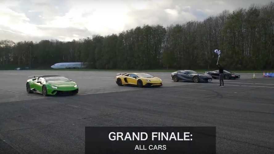 1 McLaren, 1 Ferrari ve 2 Lamborghini'nin drag yarışını izleyin