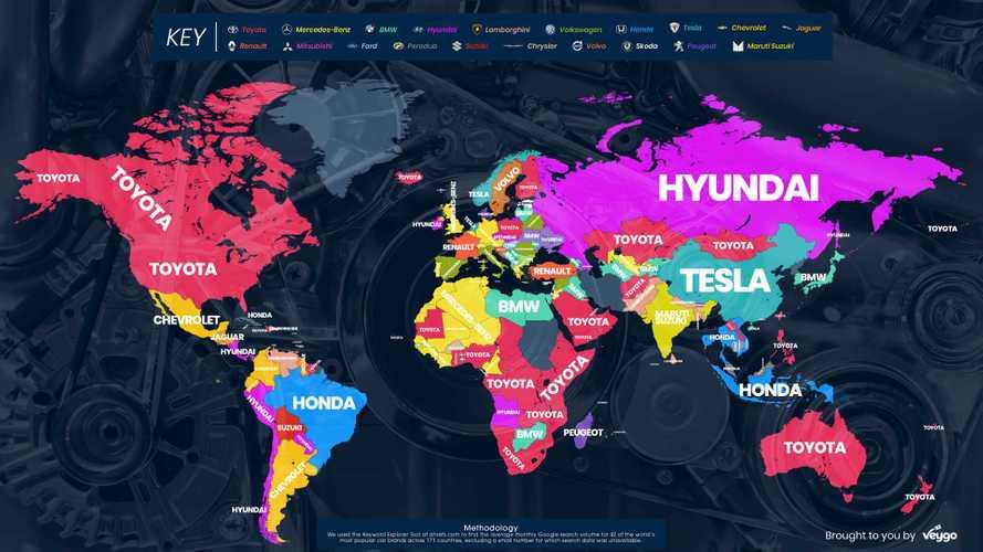 Mapa: as fabricantes mais procuradas no Google, por país