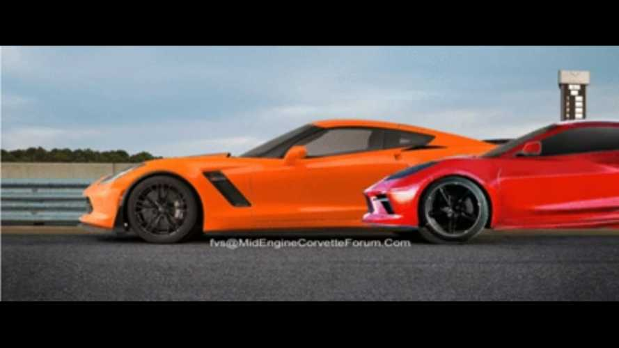 Mid-engined Corvette render video offers nifty size comparison