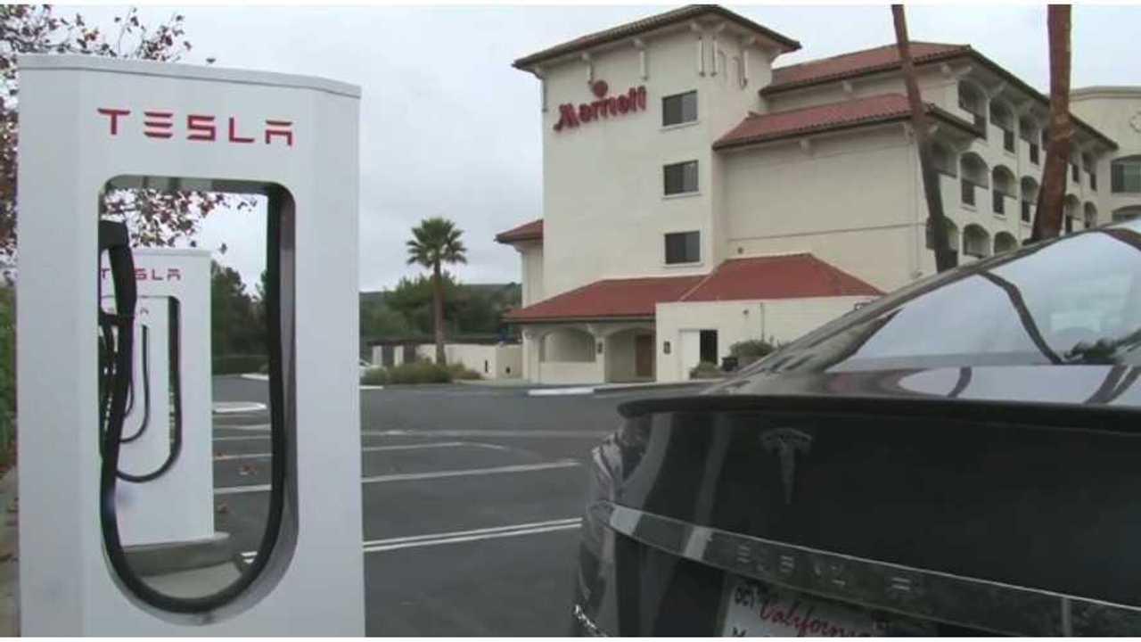 tesla model s at supercharging