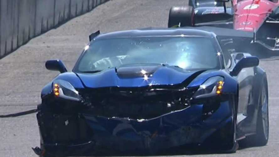 GM executive crashes Corvette ZR1 pace car on IndyCar parade lap