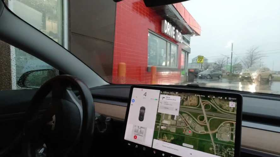 Watch Tesla Smart Summon Tested At A Fast Food Drive-Through