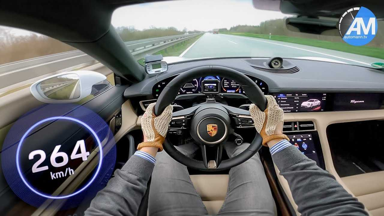 Watch Porsche Taycan Turbo S blow past its top speed on the Autobahn