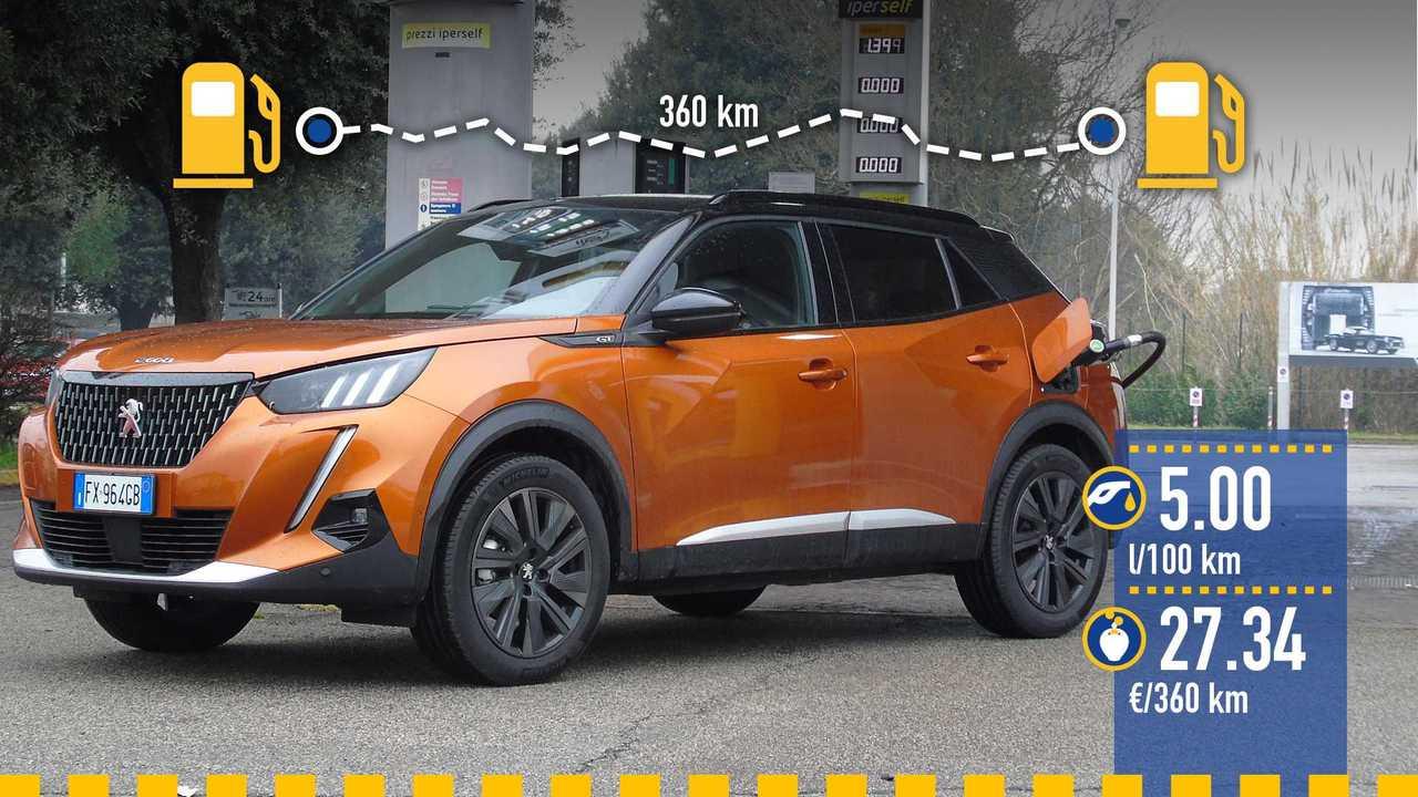 Peugeot 2008 benzina, la prova consumi