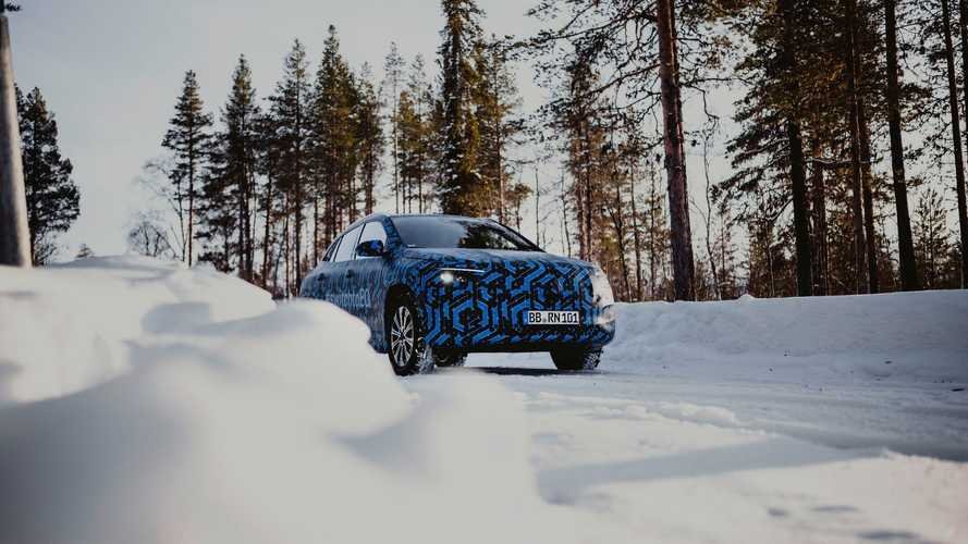Mercedes-Benz EQA prototype during the winter test in Sweden around Arctic Falls