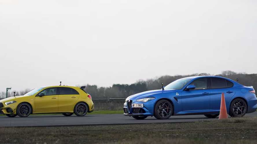 Alfa Romeo Giulia QV vs AMG A45 S drag race is not even close
