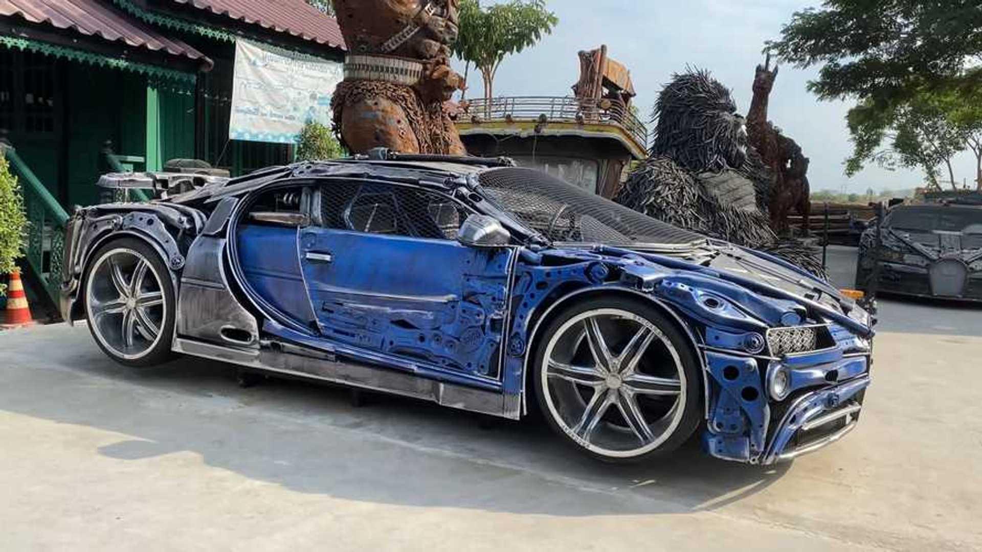 Реплика Bugatti Chiron из металлолома — автомобильный стимпанк
