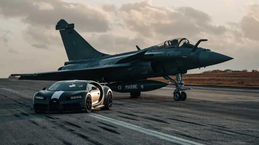 Duel Dua Ikon Prancis, Bugatti Chiron vs Jet Dassault Rafale