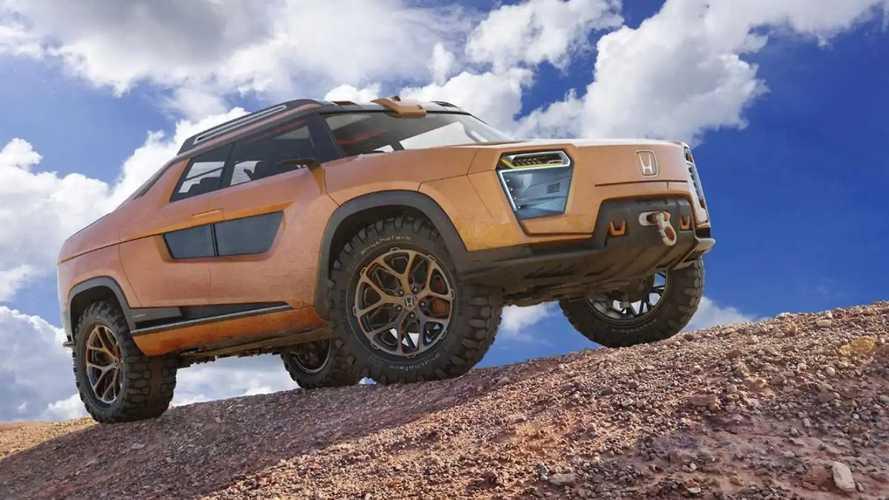 Honda Ridgeline é imaginada como uma picape elétrica futurista