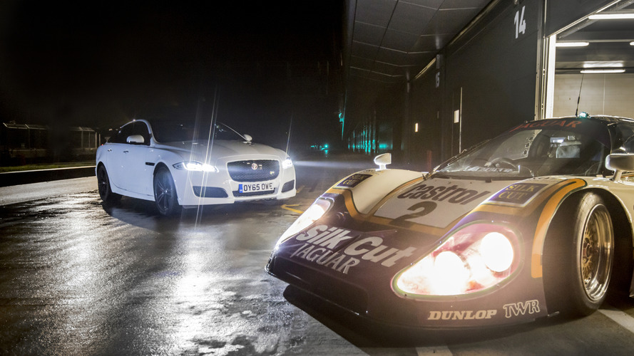 Jaguar XJR meets the XJR9-LM at Silverstone [video]